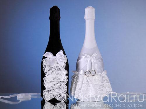 Украшение бутылок шампанского, молочное.  Украшения на бутылки на...