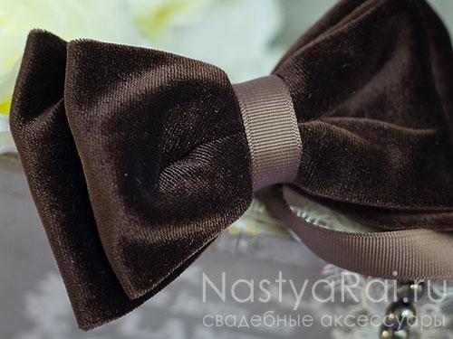"Бархатный галстук-бабочка ""Шоколад"""