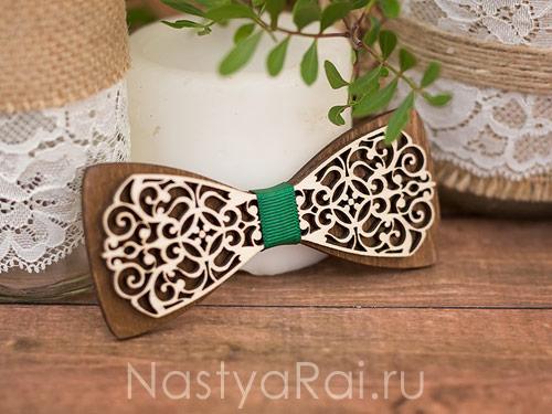 Галстук-бабочка из дерева двойная, основа Орех