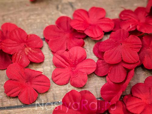 Искусственные цветочки для обсыпания, бордовые