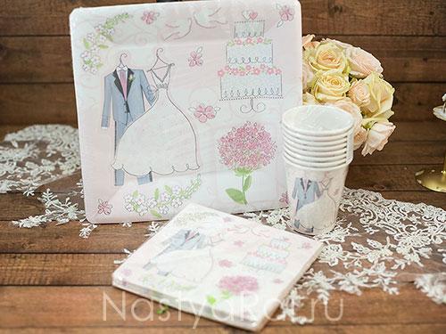 Одноразовые тарелки Свадебные