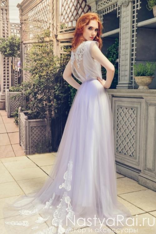 Дымчатое свадебное платье ZIS002