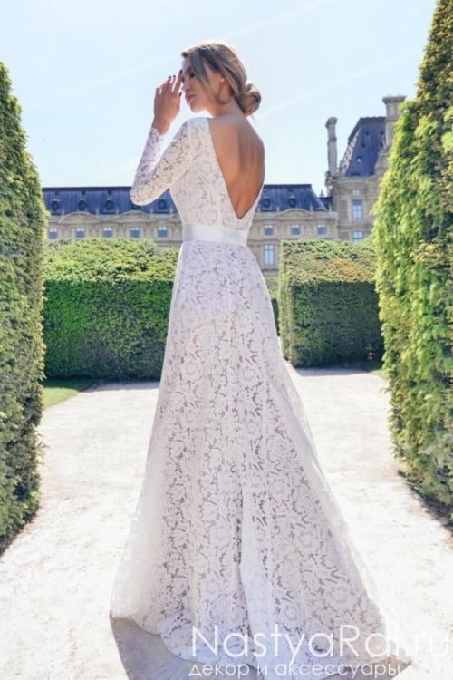 Кружевное свадебное платье с открытой спиной Anna RosyBrown 1828 Vivian