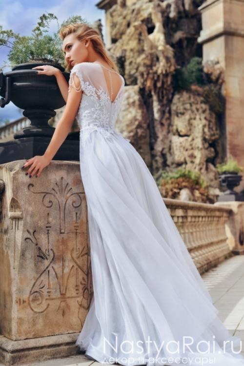 Светло-серое свадебное платье в пол Anna RosyBrown 1811 Arya