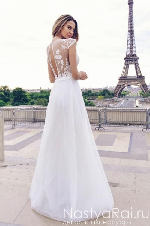 Длинное свадебное платье с коротким рукавом и открытой спиной Anna RosyBrown 1819 Ida