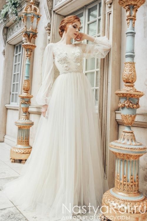 Свадебное платье с длинными рукавами ZML024