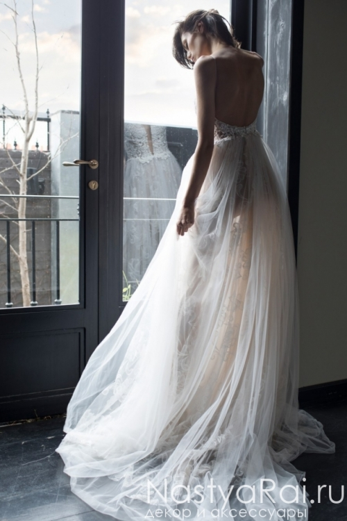 Полупрозрачное свадебное платье с жемчугом RIKI DALAL RD-213
