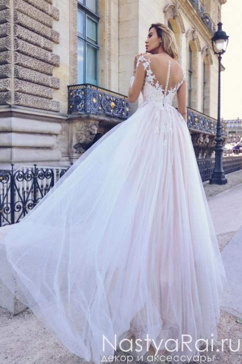Свадебное платье с длинными рукавами с кружевом Anna RosyBrown 1820 Iris