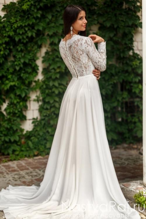 Свадебное платье с рукавами из кружева ZCD005