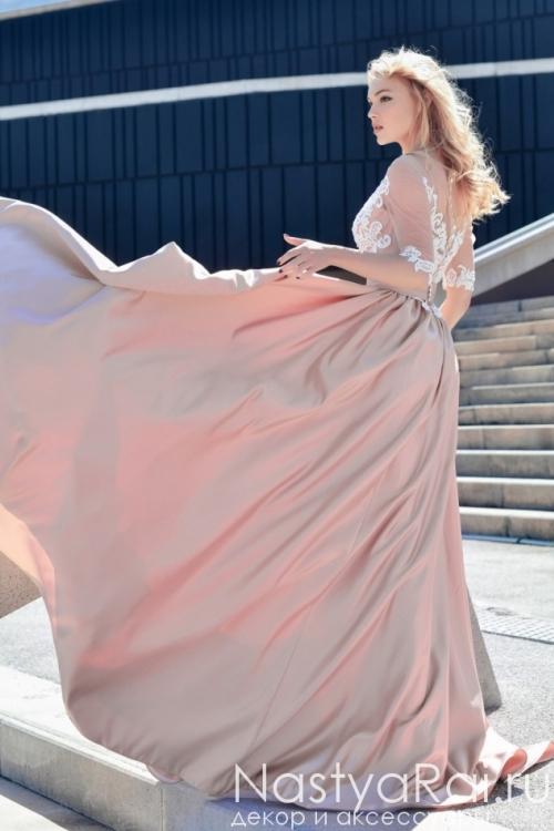 Свадебное платье с атласной юбкой Anna RosyBrown 1810 Ariel