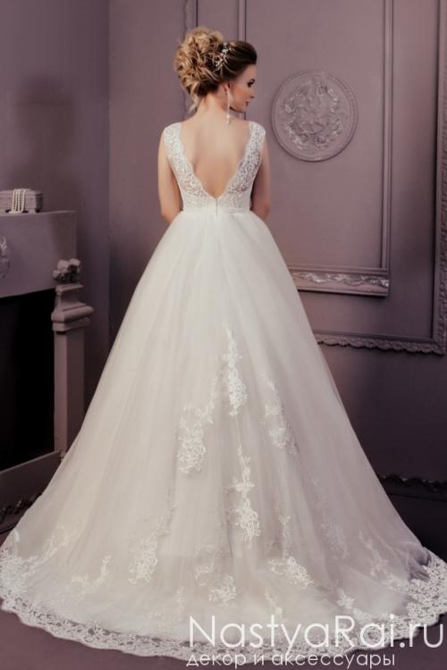 Пышное свадебное платье с кружевом ZCD002
