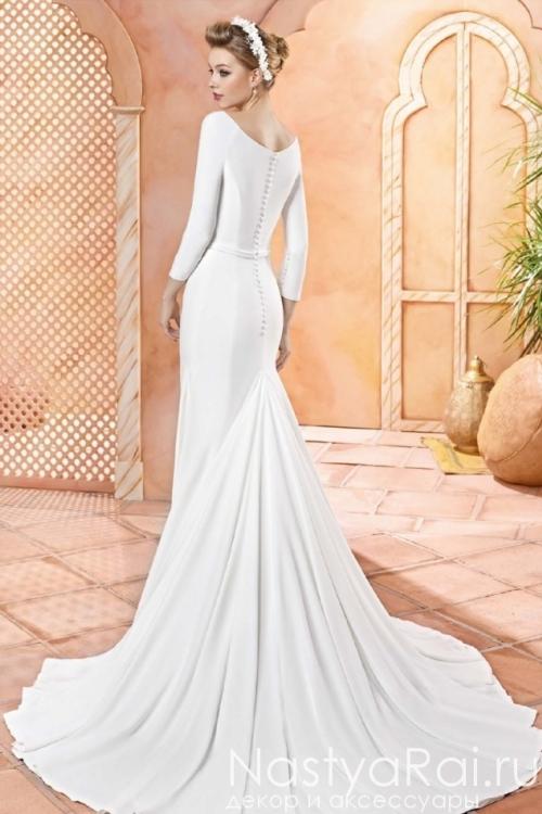 Прямое свадебное платье с шлейфом VALERIO LUNA VL5924