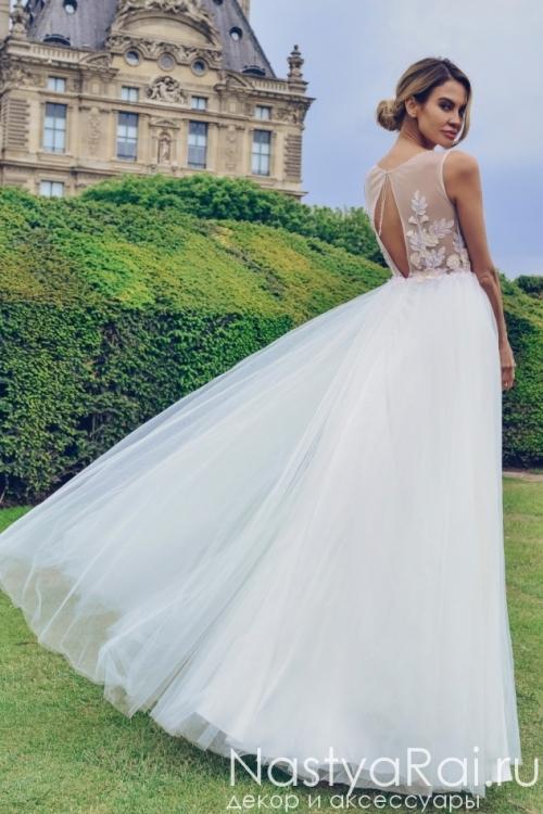 Длинное свадебное платье с объемными цветами Anna RosyBrown 1827 Viola