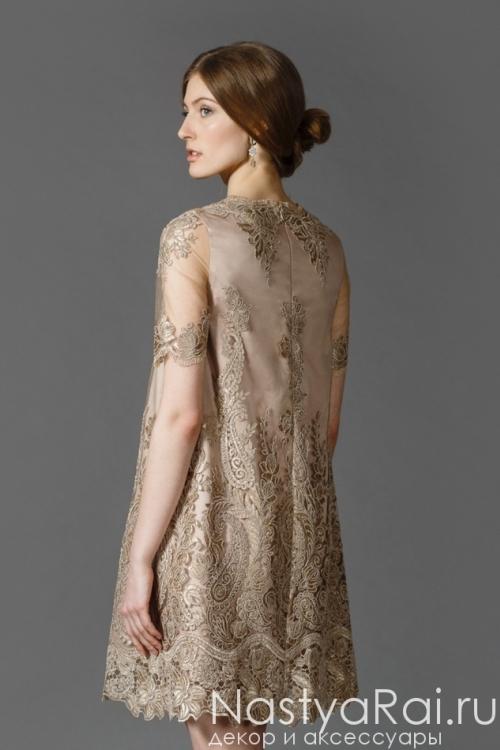 Золотое кружевное платье-трапеция RB025B
