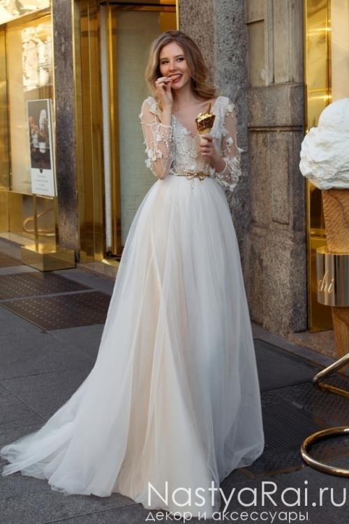 Свадебное платье из фатина с вышивной ZAR006