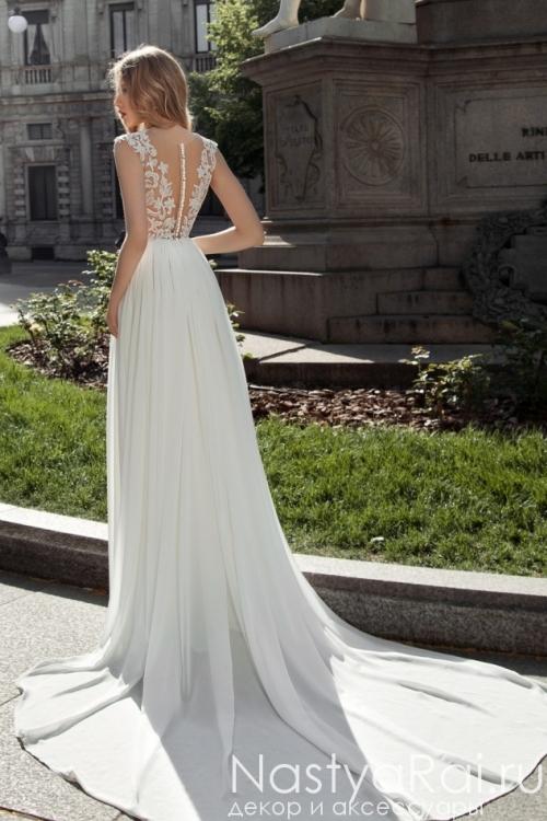 Прямое шифоновое свадебное платье ZAR005