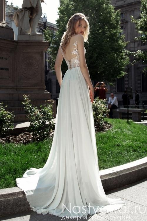 Свадебное платье из шифона с корсетом ZAR003