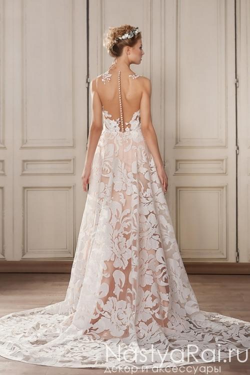 Кружевное свадебное платье с шлейфом ZVN001