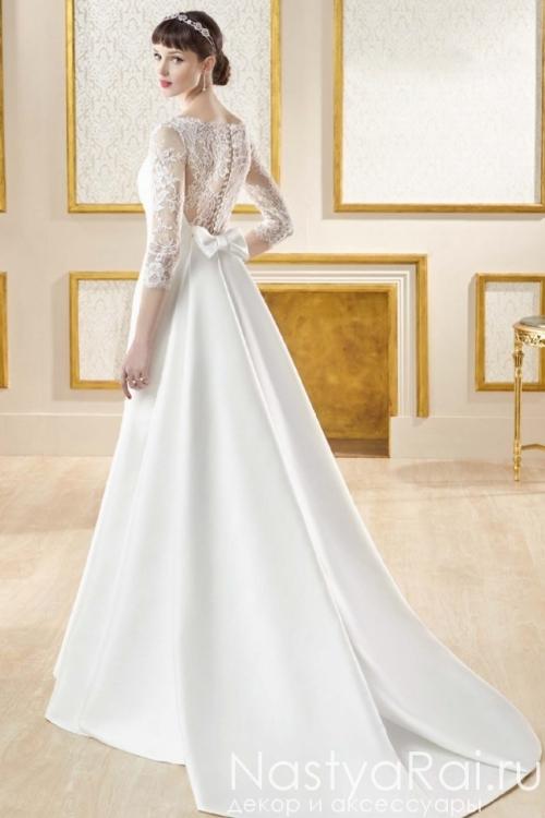 Атласное свадебное платье с кружевными рукавами MANU GARCIA MG0816
