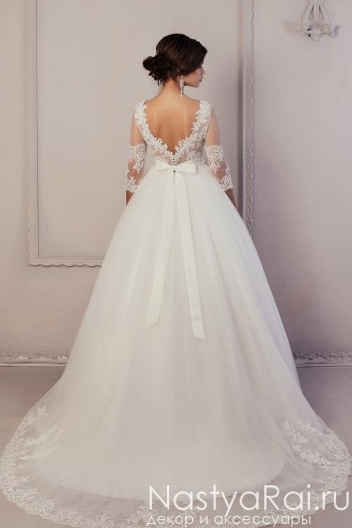 Пышное фатиновое платье с длинными рукавами и открытой спиной ZCD008