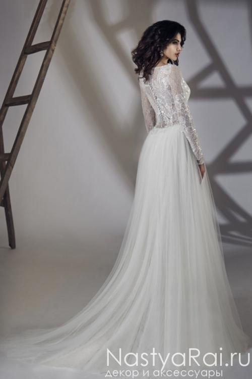 Свадебное платье из кружева и шифона с шлейфом ZIT006
