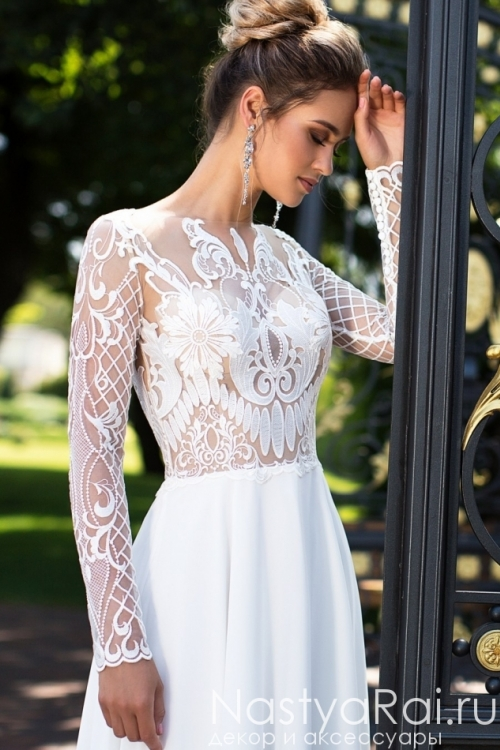 Атласное свадебное платье с кружевом ZIT004