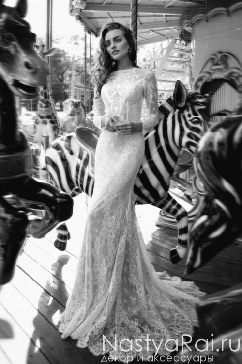 Свадебное платье-русалка с длинными рукавами и шлейфом ZBZ005