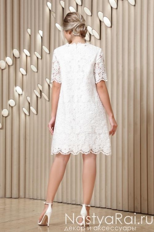 Белое кружевное платье-трапеция RB037B