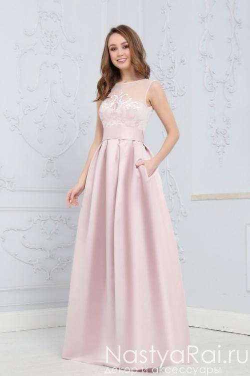 Длинное вечернее платье нежно-розового цвета ZEK025B