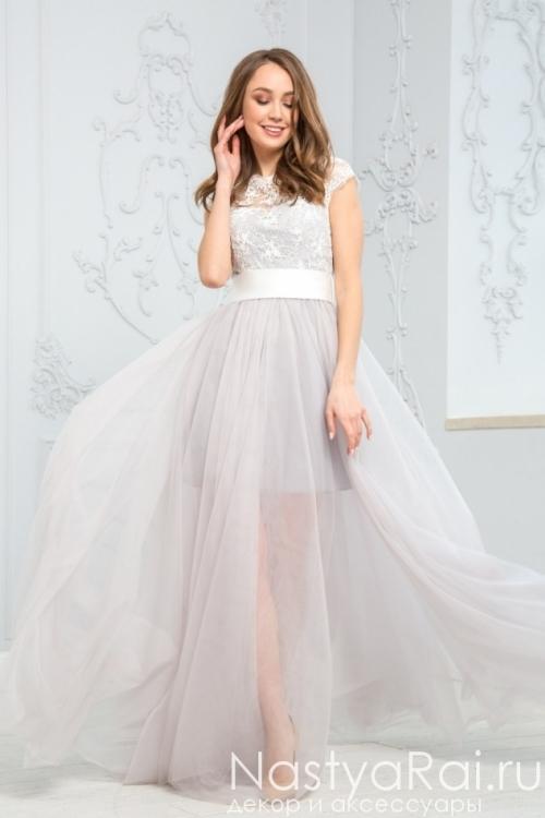 Вечернее платье с двуслойной юбкой разной длины ZEK022B