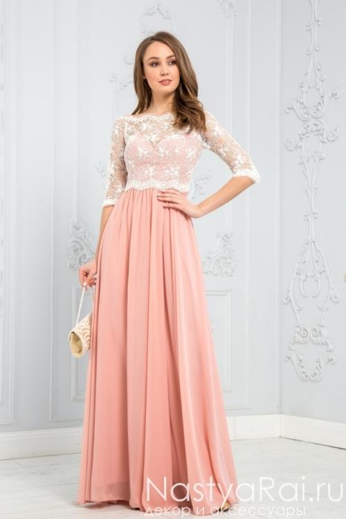 Длинное платье с кружевами ZEK018B