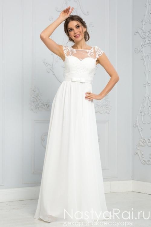Легкое белое платье в пол ZEK017B