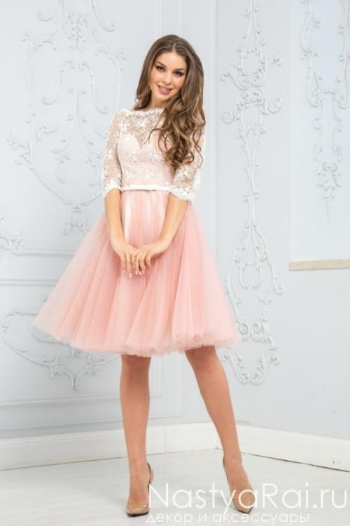 Коктейльное платье с пышной юбкой из фатина ZEK006B