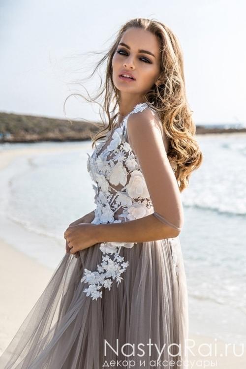 Полупрозрачное свадебное платье ZBZ001