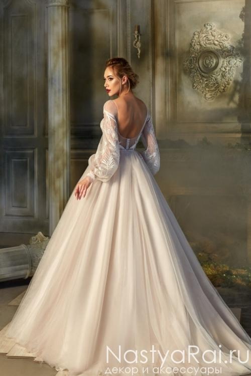 Пышное свадебное платье с рукавами ZBW002