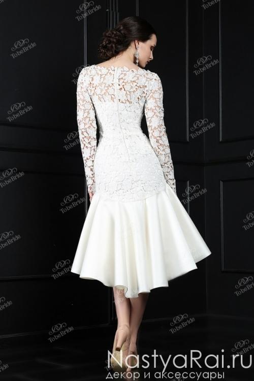 Короткое свадебное платье с юбкой переменной длины TB068
