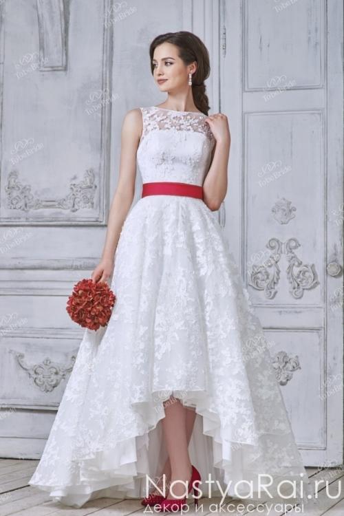 Свадебное платье айвори с красным поясом TB011