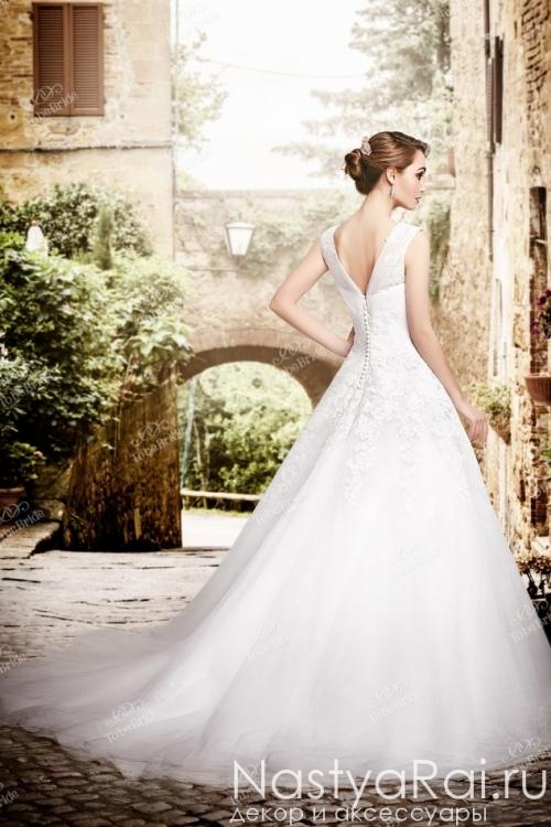 Свадебное платье айвори с фактурным кружевом PP009Y1