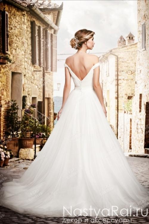 Длинное свадебное платье А-силуэта из фатина PP014