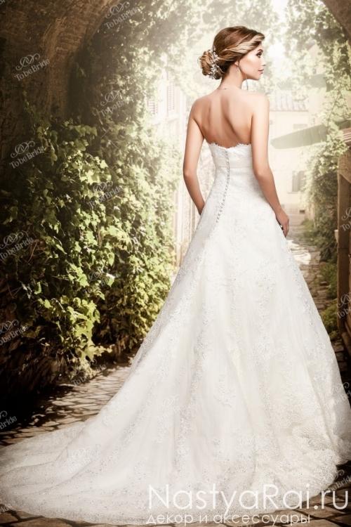Длинное свадебное платье А-силуэта из кружева PP015