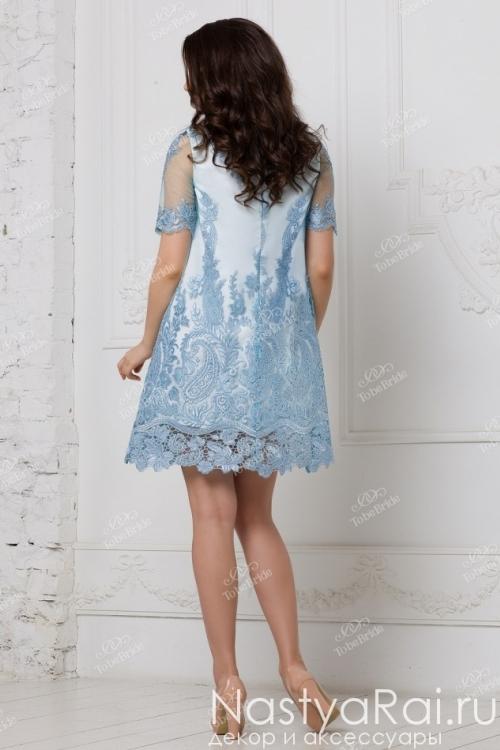 Голубое кружевное платье-трапеция RB017B