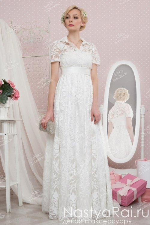 Свадебное платье из кружева с короткими рукавами TB036