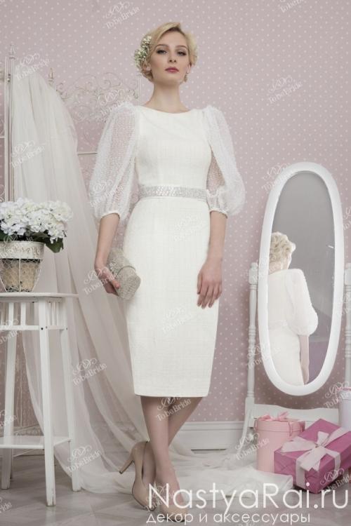 Платье-футляр с длинными рукавами-фонариками TB031