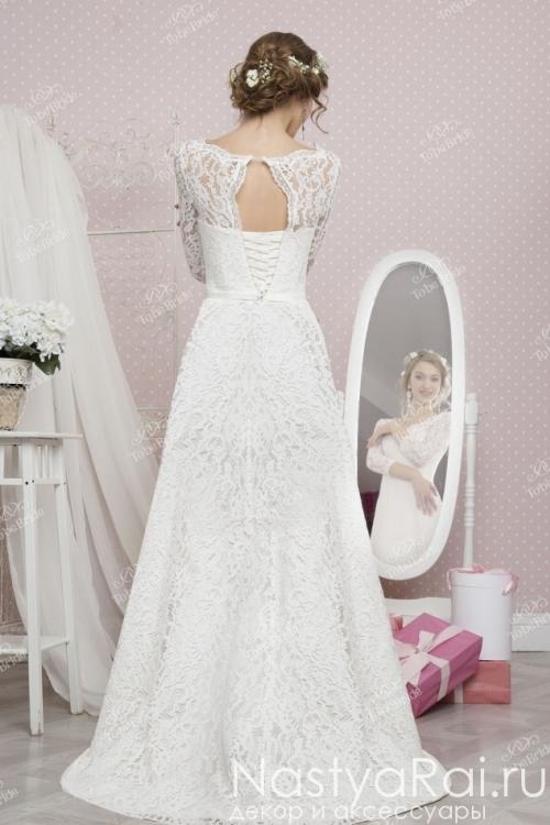 Длинное свадебное платье с корсетом RB013