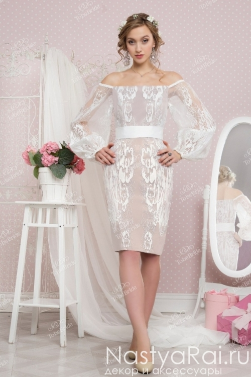 Короткое свадебное платье в широкими рукавами TB046