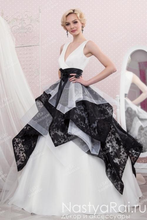 Черно-белое свадебное платье TB044