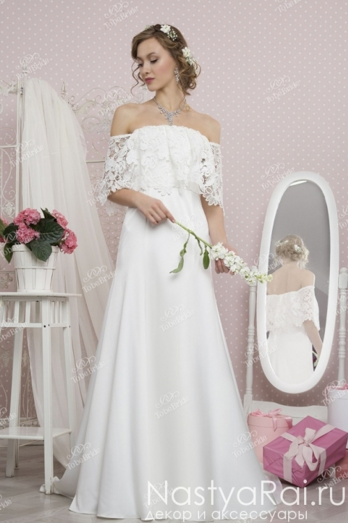 Длинное свадебное платье из атласа TB041