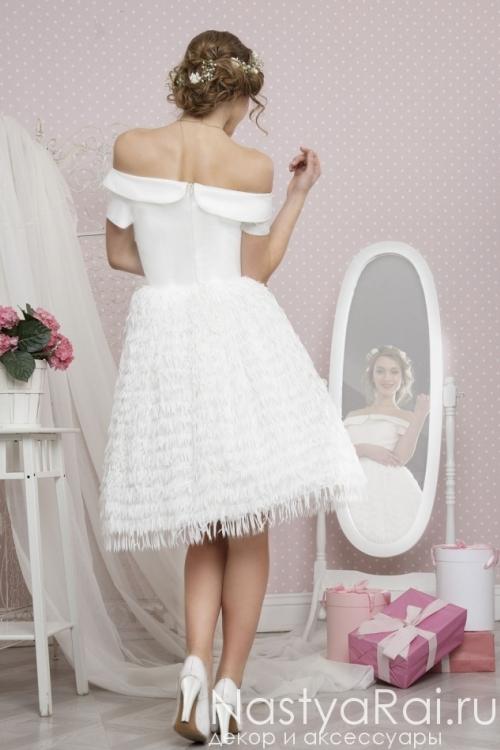 """Свадебное платье с пышной юбкой с """"перьями"""" TB032"""