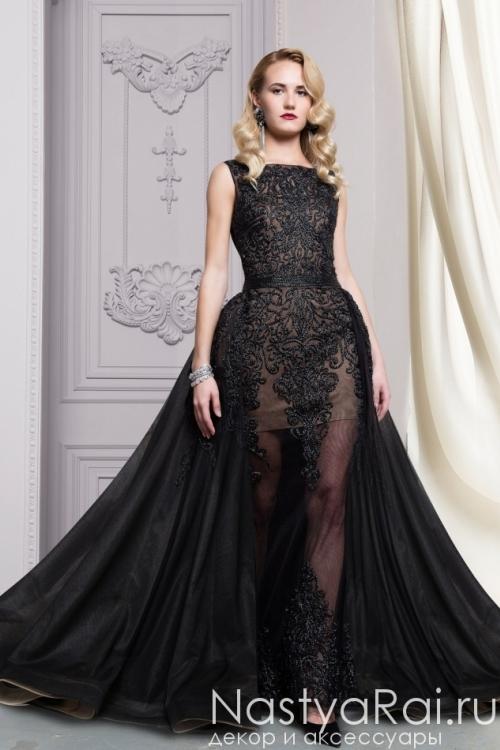 Черное кружевное платье в пол с пышной юбкой LG007B