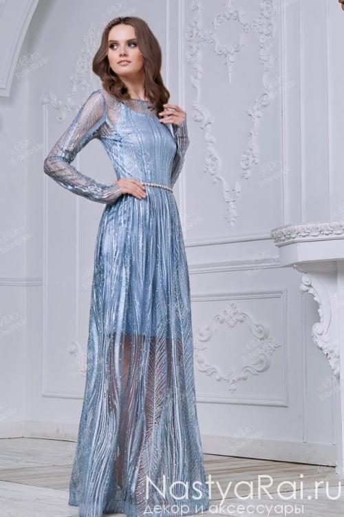 Воздушное голубое платье в пол ND087B